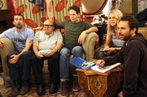 "Rob McElhenney, Danny DeVito, Glenn Howerton, Kaitlin Olson and Charlie Day in ""It's Always Sunny in Philadelphia."""
