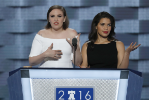 Lena Dunham and America Ferrara at the Democratic National Convention