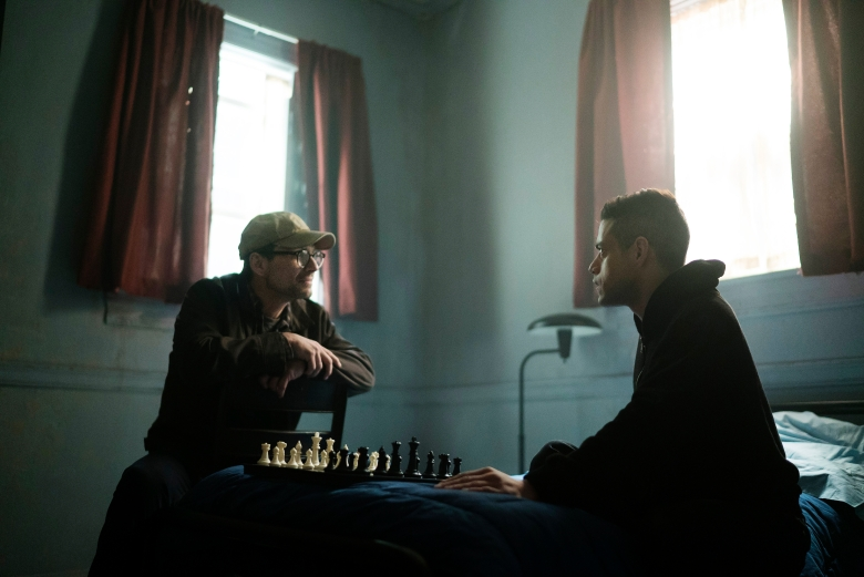 "Christian Slater and Rami Malek in ""Mr. Robot."""