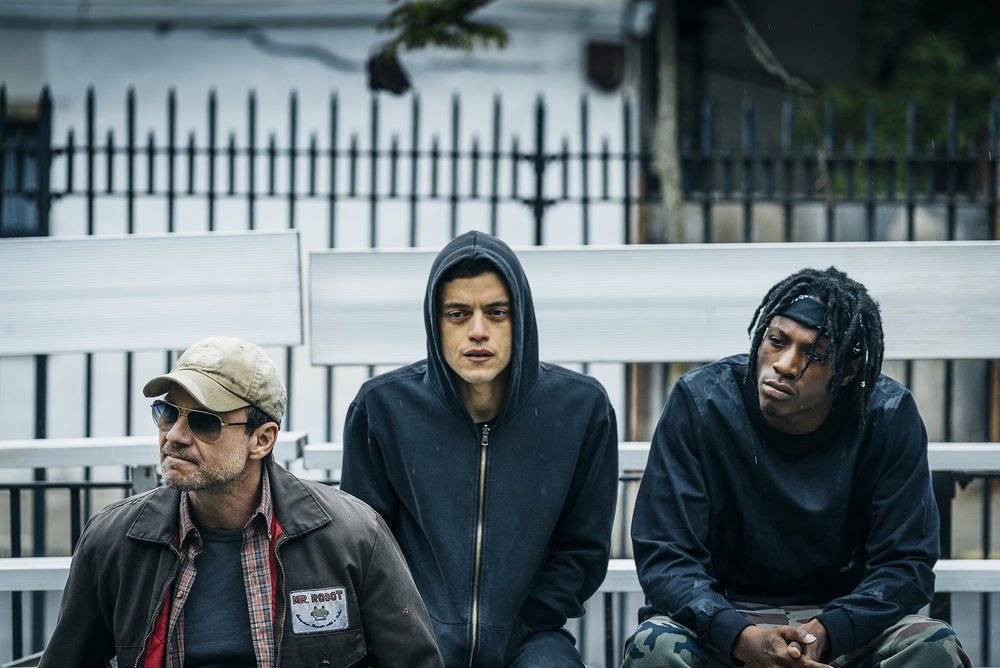 "MR. ROBOT -- ""eps2.1_k3rnel%u2010pan1c.ksd"" Episode 203 -- Pictured: (l-r) Christian Slater as Mr. Robot, Rami Malek as Elliot Alderson, Joey Bada$$ as Leon -- (Photo by: Michael Parmelee/USA Network)"