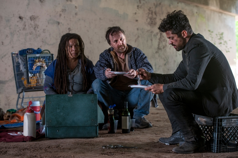 "Dominic Cooper, Ramona King and Richard Levi in ""Preacher."""