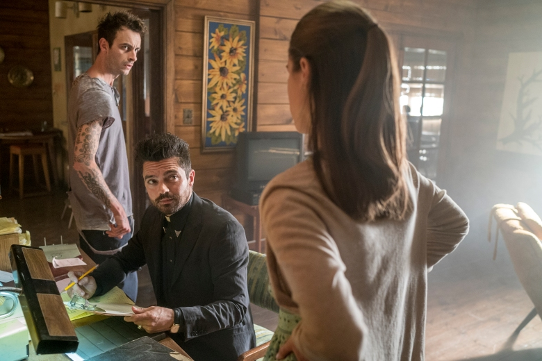 "Dominic Cooper, Lucy Griffiths and Joseph Gilgun in ""Preacher."""