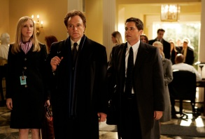 Janel Moloney (Donna Moss), Bradley Whitford (Josh Lymon) and Rob Lowe (Sam Seaborn)