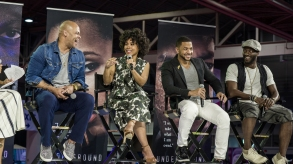 """Underground"" director/executive producer Anthony Hemingway and actors Amirah Vann, Alano Miller and Aldis Hodge at Essence Festival"