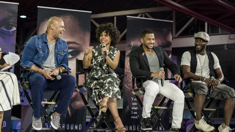 """""""Underground"""" director/executive producer Anthony Hemingway and actors Amirah Vann, Alano Miller and Aldis Hodge at Essence Festival"""