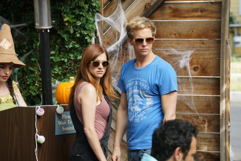 """YOU'RE THE WORST -- """"Spooky Sunday Funday"""" --Episode 208 (Airs Wednesday, October 28, 10:30 pm e/p) Pictured: (l-r) Aya Cash as Gretchen, Chris Geere as Jimmy. CR: Byron Cohen/FX"""