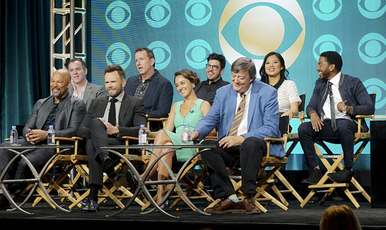Chris Harris, Mike Gibbons, Christopher Mintz-Plasse, Christine Ko, Shaun Brown. Front Row: Chris Williams, Joel McHale, Susannah Fielding, Stephen Fry.