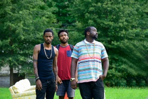 "ATLANTA ""The Big Bang"" Episode 101 (Airs Tuesday, September 6, 10:00 pm e/p) Pictured: (l-r) Keith Standfield as Darius, Donald Glover as Earnest Marks, Brian Tyree Henry as Alfred Miles. CR: Guy D'Alema/FX"