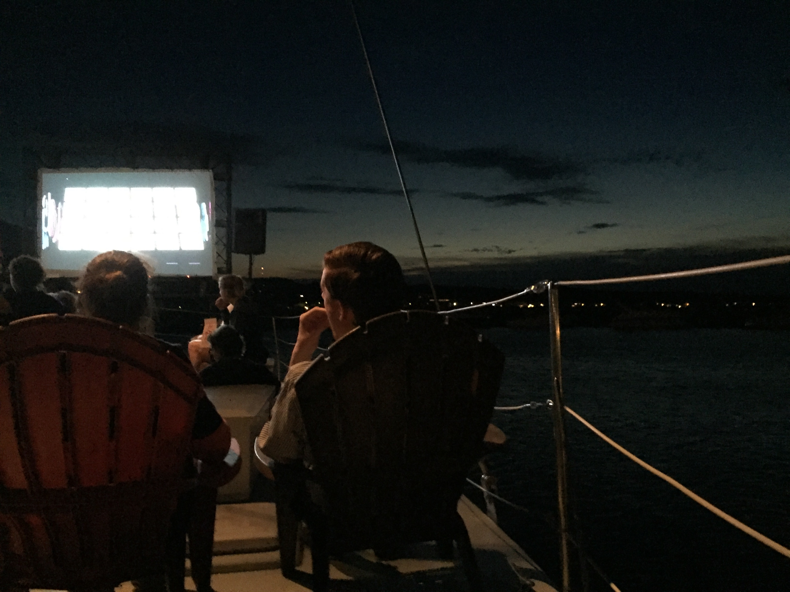 "Watching ""Weiner"" on a catamaran on Traverse Bay."