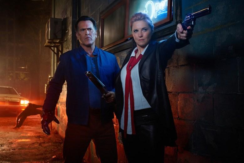 Ash vs. Evil Dead Key Art Shoot2016 Bruce Campbell Lucy Lawless