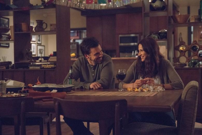 Tommy Dewey as Alex Cole, Michaela Watkins as Valerie Meyers - Casual_Season 2, Episode 13, Photo credit: Greg Lewis/Hulu