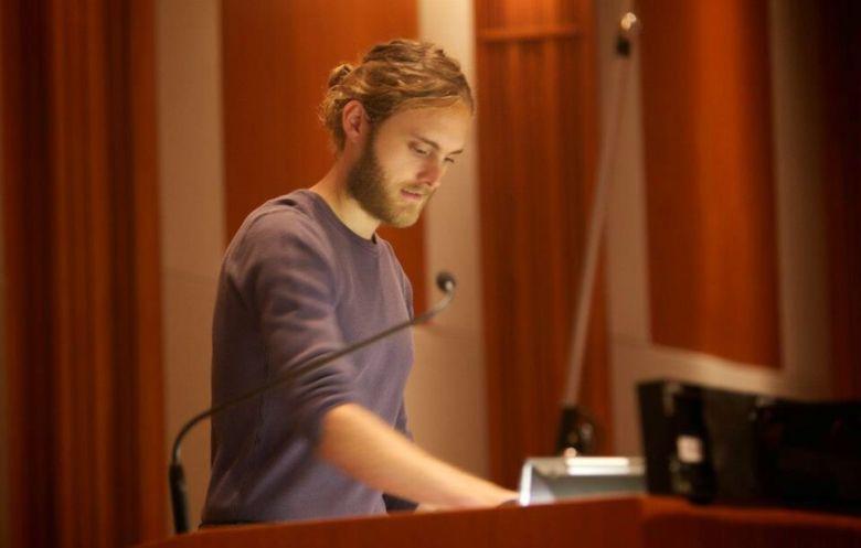 Composer Duncan Thum in the studio
