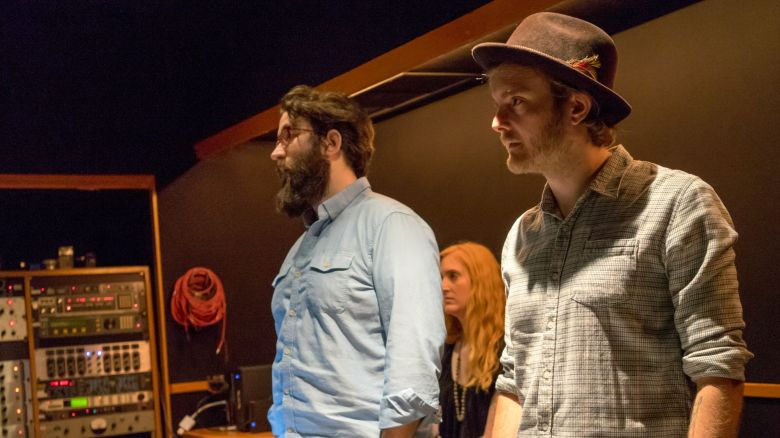 Composer Duncan Thum (right) in the studio