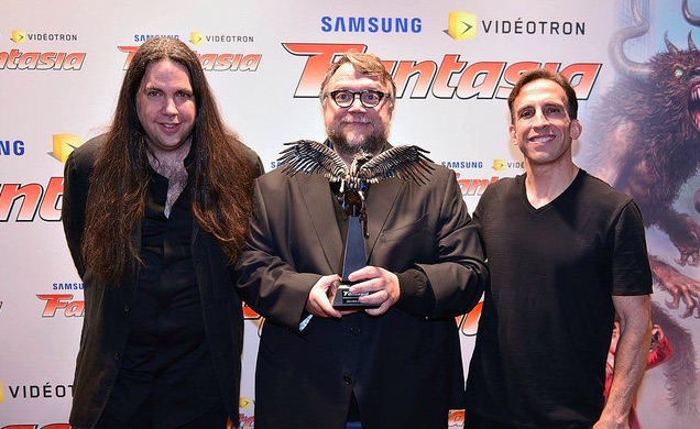 Guillermo Del Toro receives Cheval Noir award from Fantasia Fest's Mitch Davis & Anthony Timpone