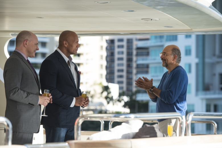 "Rob Corddry, Dwayne Johnson and Richard Schiff in ""Ballers."""