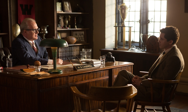"Tracy Letts and Logan Lerman in ""Indignation"""