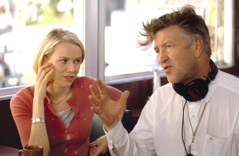 "David Lynch and Naomi Watts on the set of ""Mulholland Drive"""