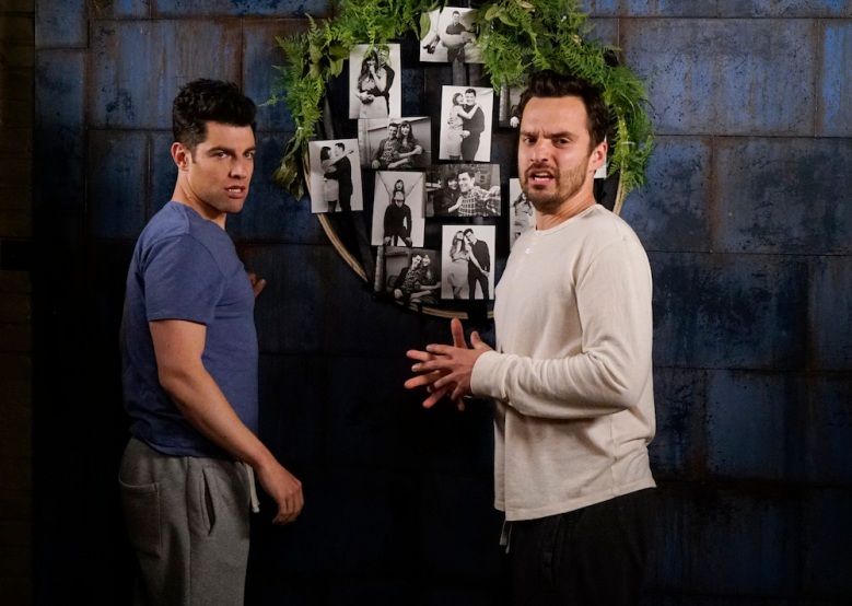 "NEW GIRL: L-R: Max Greenfield and Jake Johnson in the ""Wedding Eve"" episode of NEW GIRL airing Tuesday, May 10 (8:00-8:30 PM ET/PT) on FOX. ©2016 Fox Broadcasting Co. Cr: Jennifer Clasen"