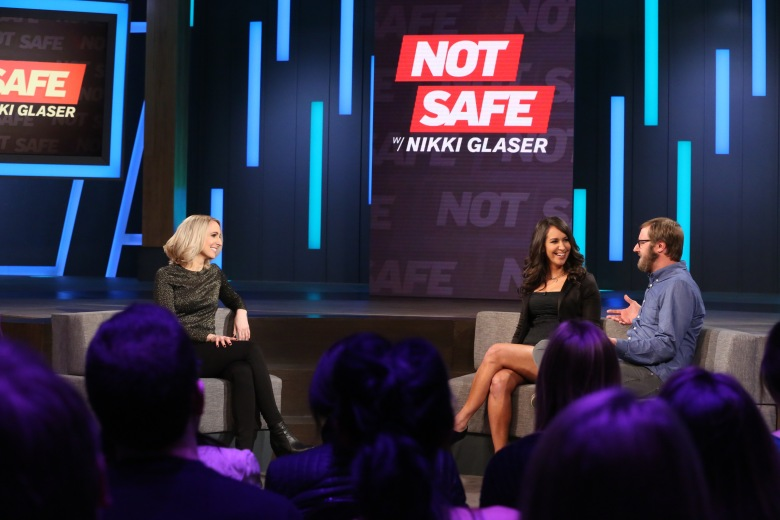 "Nikki Glaser, Rachel Feinstein, Rory Scovel in ""Not Safe With Nikki Glaser."""