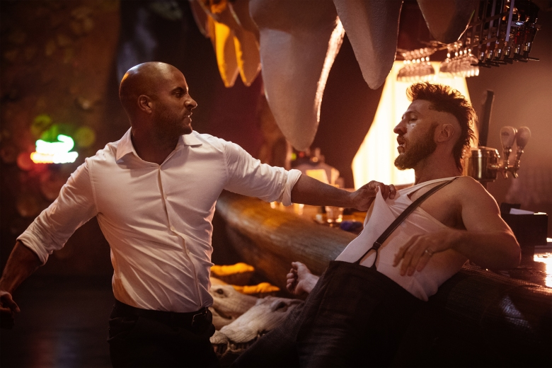 "Ricky Whittle and Pablo Schreiber in ""American Gods."""