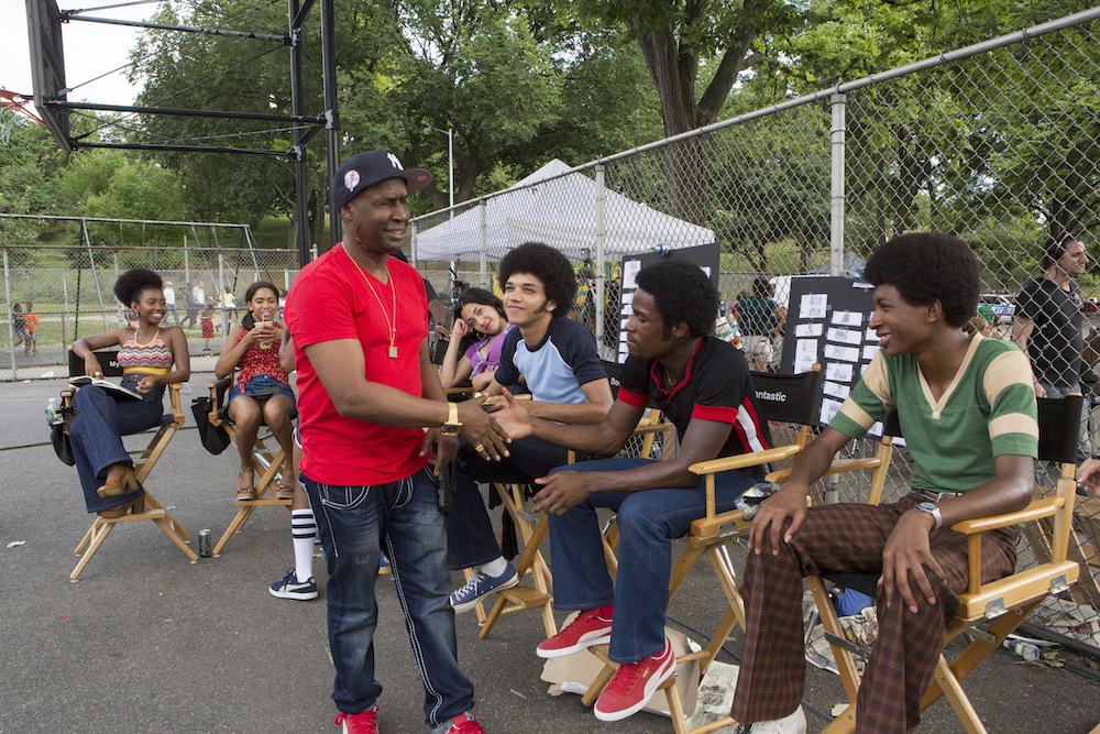 Stefanée Martin, Herizen F. Guardiola, Grand Master Flash, Shyrley Rodriguez, Justice Smith, Shameik Moore, Skylan Brooks The Get Down set