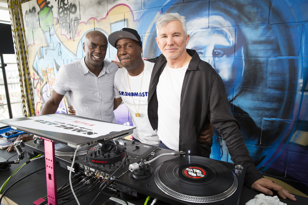 "Trevor Nelson and Grandmaster Flash, executive producers for the Netflix original series ""The Get Down"" and creator Baz Luhrmann appear at a press day in London, England."