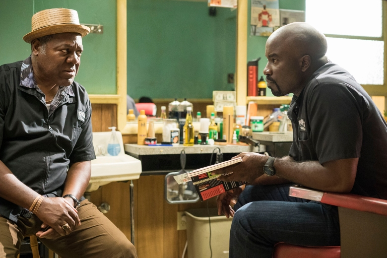 "Frankie Faison and Mike Colter in ""Luke Cage"""