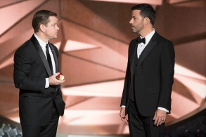 """THE 68TH EMMY(r) AWARDS - """"The 68th Emmy Awards"""" broadcasts live from The Microsoft Theater in Los Angeles, Sunday, September 18 (7:00-11:00 p.m. EDT/4:00-8:00 p.m. PDT), on ABC and is hosted by Jimmy Kimmel MATT DAMON, JIMMY KIMMEL"""