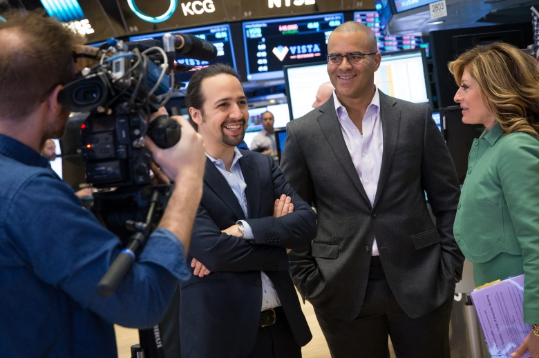"Lin-Manuel Miranda, Christopher Jackson, Maria Bartiromo, ""Hamilton's America"" at the New York Stock Exchange"