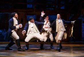 "Daveed Diggs, Okieriete Onaodowan, Anthony Ramos, and Lin-Manuel Miranda in ""Hamilton."""