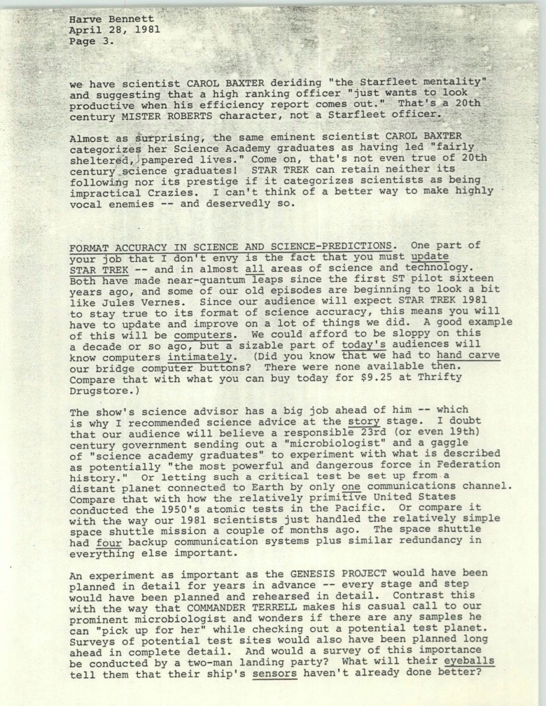 Project 366: Gene Roddenberry letter to Harve Bennett - Page 3