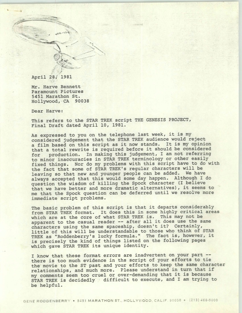 Project 366: Gene Roddenberry letter to Harve Bennett - Page 1