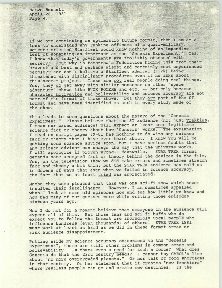 Project 366: Gene Roddenberry letter to Harve Bennett - Page 4