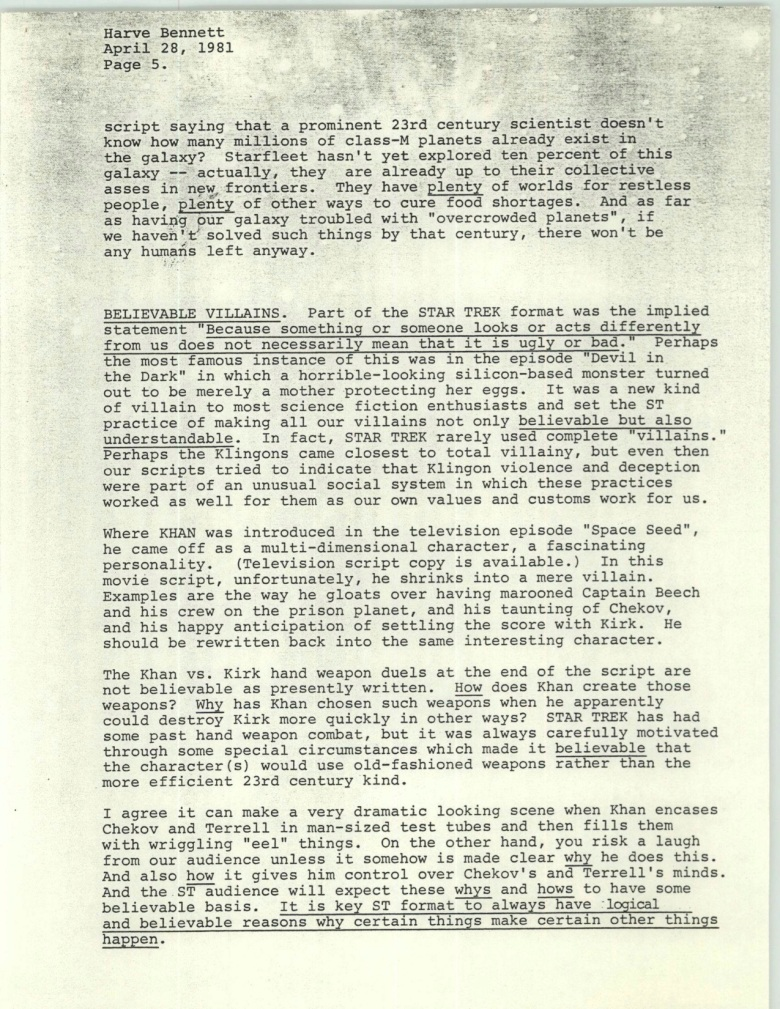 Project 366: Gene Roddenberry letter to Harve Bennett - Page 5
