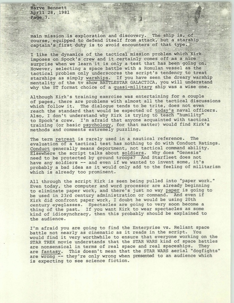 Project 366: Gene Roddenberry letter to Harve Bennett - Page 7