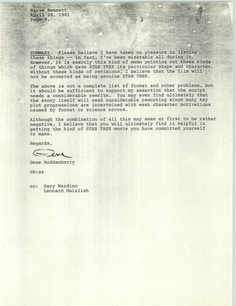 Project 366: Gene Roddenberry letter to Harve Bennett - Page 9
