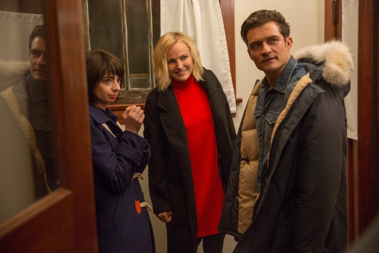 "Kate Micucci, Malin Akerman and Orlando Bloom in ""Easy."""