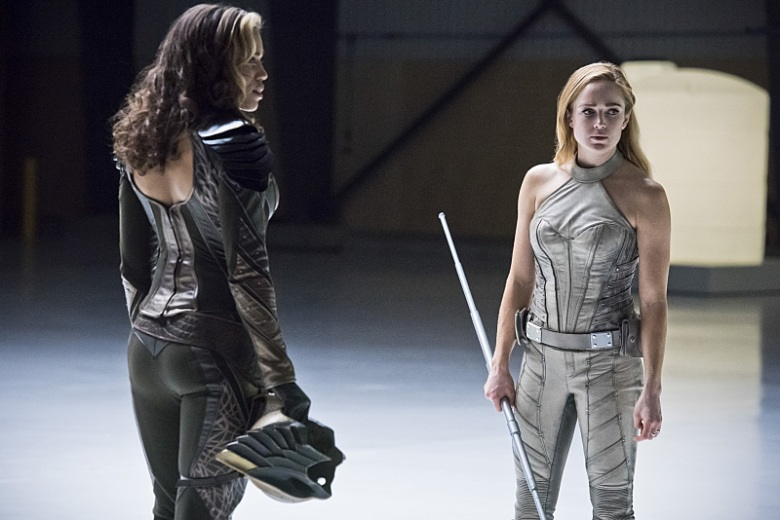 "Ciara Renee and Caity Lotz in ""Legends of Tomorrow."""