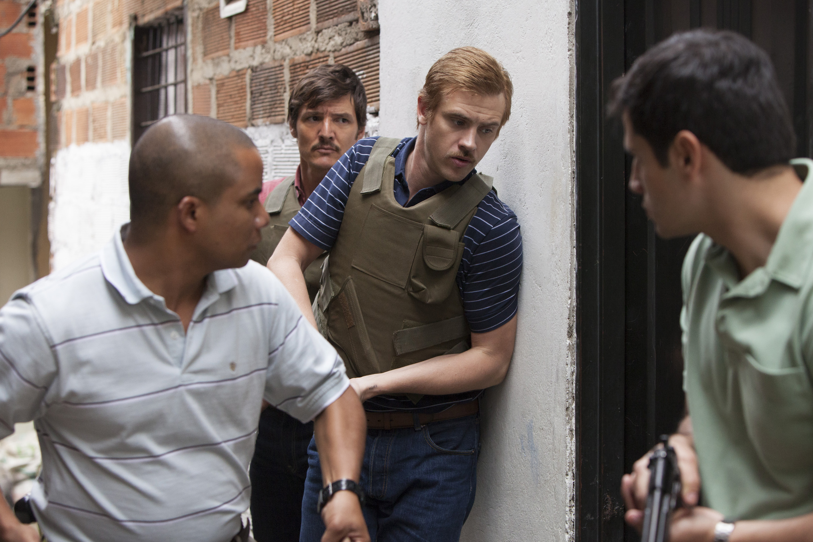 "Pedro Pascal and Boyd Holbrook in ""Narcos."""