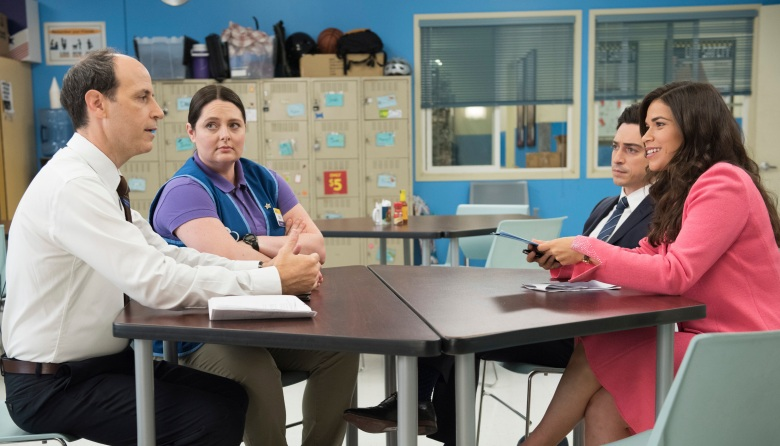 "SUPERSTORE -- ""Strike"" Episode 202 -- Pictured: (l-r) Michael Bunin as Jeff, Lauren Ash as Dina, Ben Feldman as Jonah, America Ferrera as Amy -- (Photo by: Colleen Heyes/NBC)"