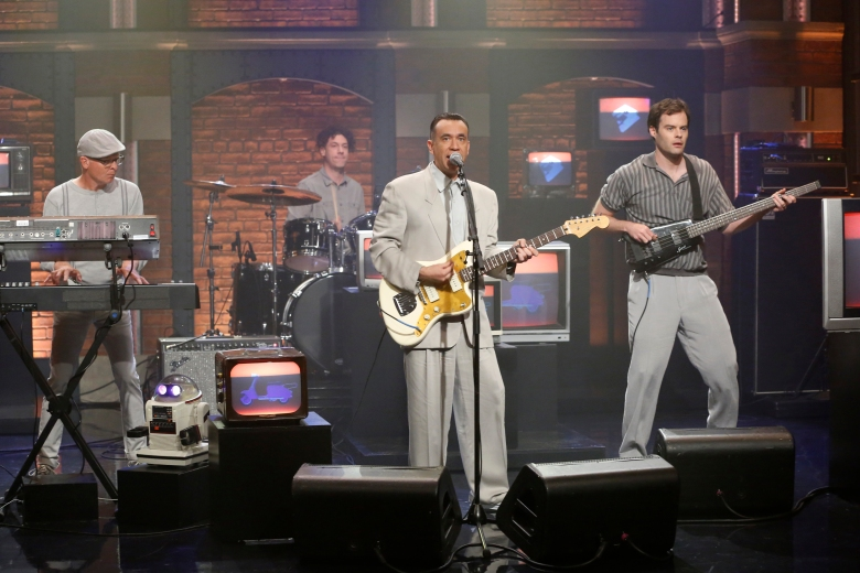 LATE NIGHT WITH SETH MEYERS -- Episode 418 -- Pictured: (l-r) Jon Spumey, Jeremy Gara, Fred Armisen and Bill Hader of musical guest 'Test Pattern' on September 13, 2016 -- (Photo by: Lloyd Bishop/NBC)