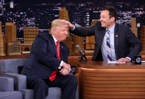 THE TONIGHT SHOW STARRING JIMMY FALLON -- Episode 0534 -- Pictured: (l-r) Republican Presidential Candidate Donald Trump during an interview with host Jimmy Fallon on September 15, 2016 -- (Photo by: Andrew Lipovsky/NBC)