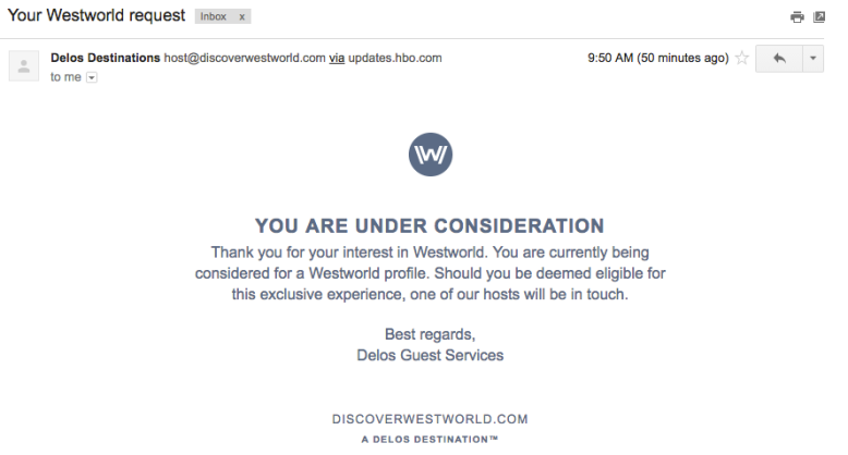 Westworld Email Confirmation