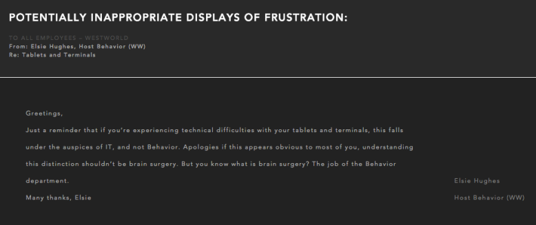 Westworld: Frustration