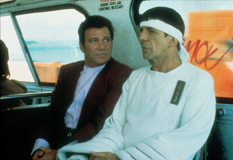 No Merchandising. Editorial Use Only. No Book Cover Usage. Mandatory Credit: Photo by Moviestore/REX/Shutterstock (1621483a) Star Trek Iv: The Voyage Home, William Shatner, Leonard Nimoy Film and Television