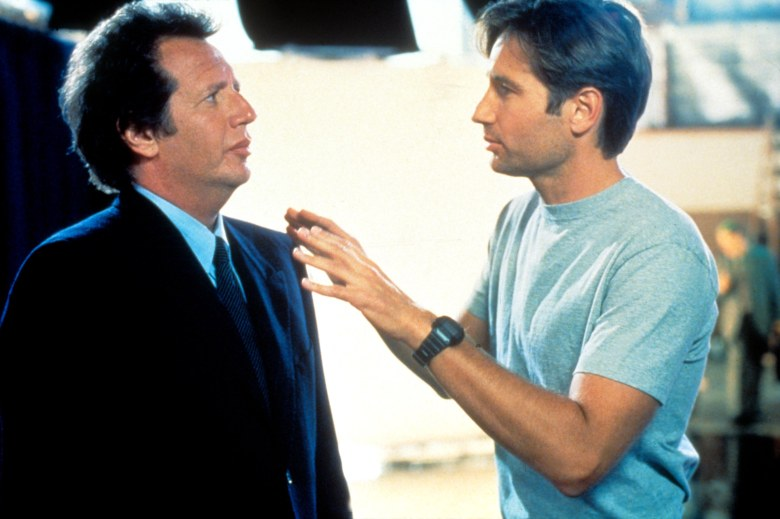 "Garry Shandling and David Duchovny in ""The Larry Sanders Show."""