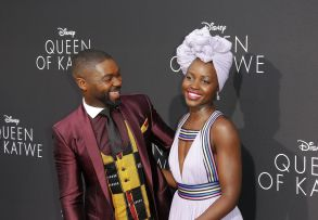 Lupita Nyong'o with David Oyelowo at the 'Queen of Katwe' premiere