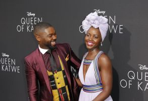 Lupita Nyong'o with David Oyelowo at the 'Queen of Katwe' premiere