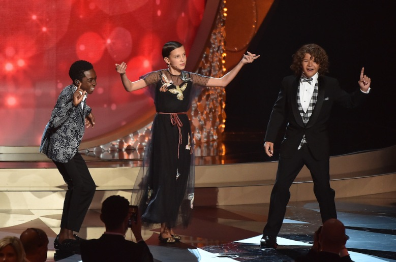 Caleb McLaughlin, Millie Bobby Brown and Gaten Matarazzo.