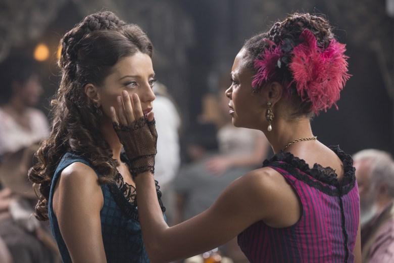 Westworld 104 - Thandie Newton Angela Angela Sarafyan as Clementine and Thandie Newton as Maeve.